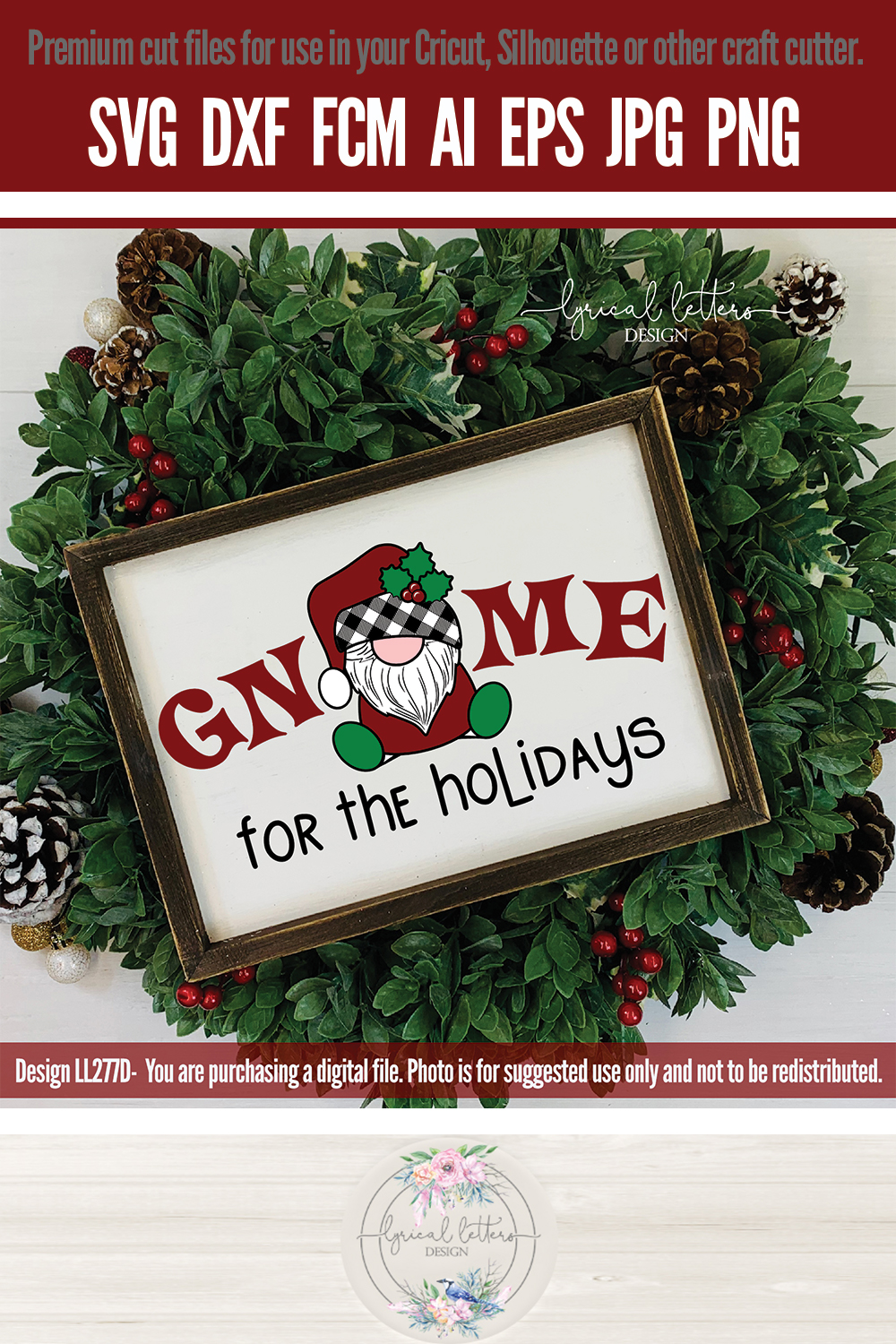 NEW! Gnome For the Holidays Santa Gnome SVG Cut File LL277D example image 3