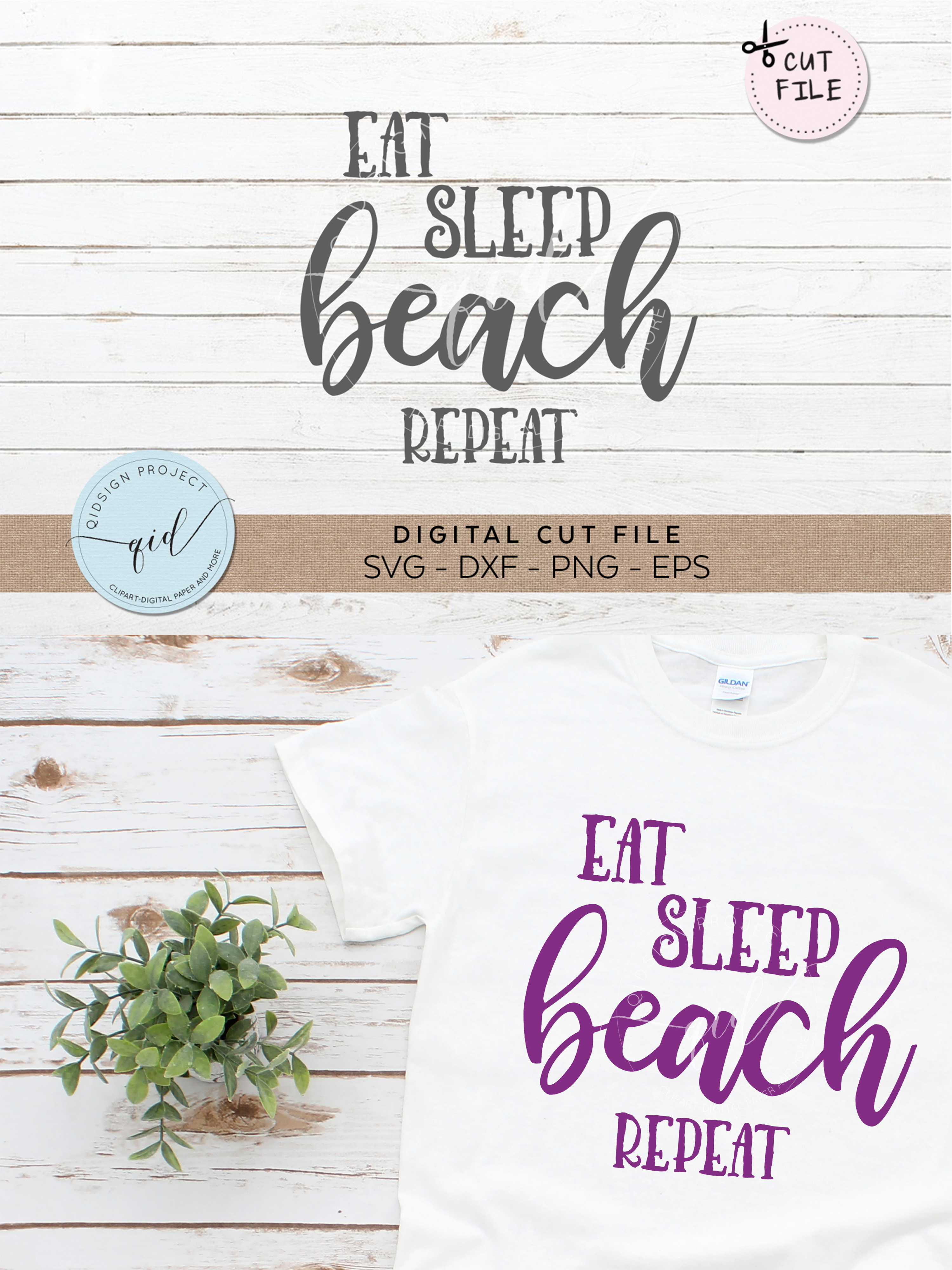 Eat Beach Sleep Repeat SVG DXF PNG EPS example image 2