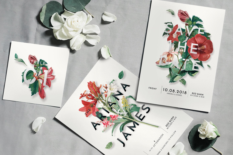 Modern Vintage Floral Wedding Invitation Suite example image 1