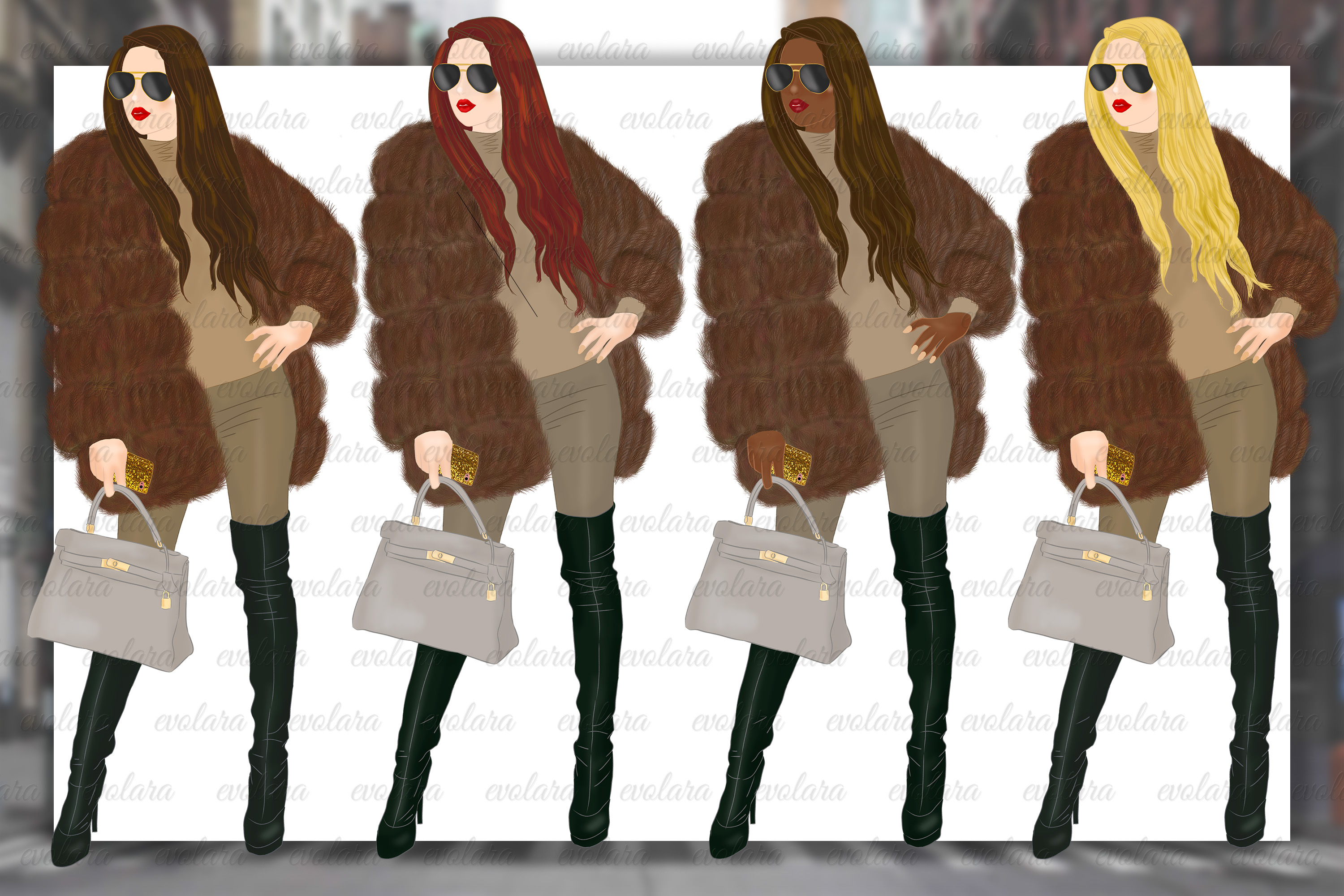 Fur Jacket Fashion Illustrations Fall Winter Fashion Clipart example image 2