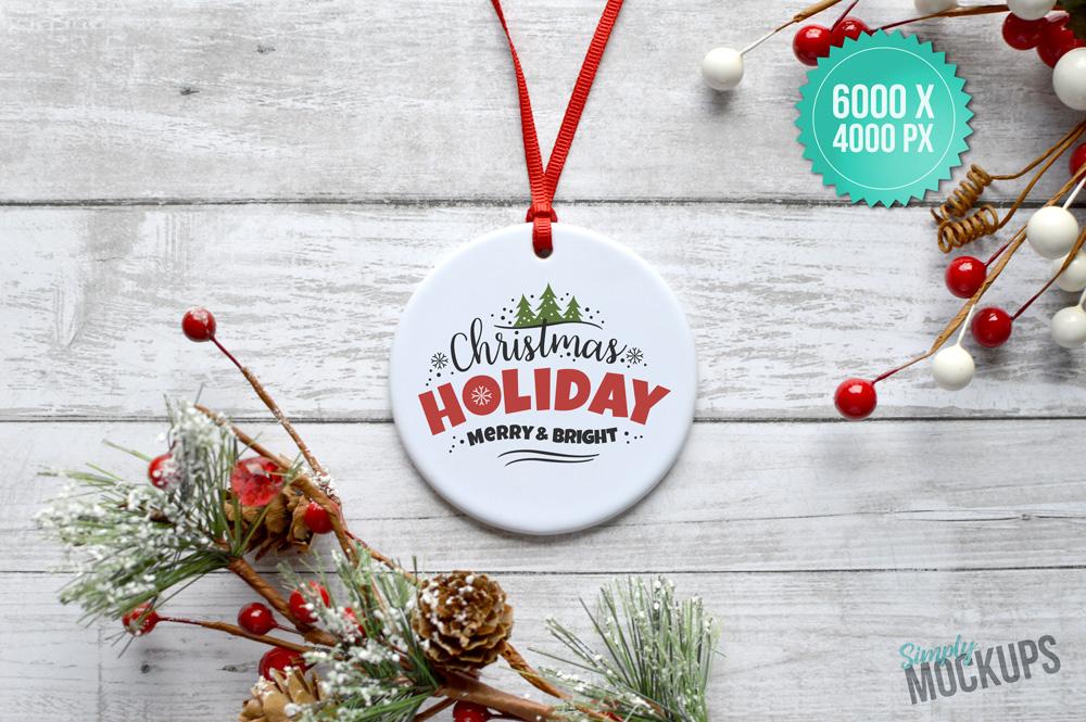 Round Porcelain Ornament Holiday Mockup example image 2
