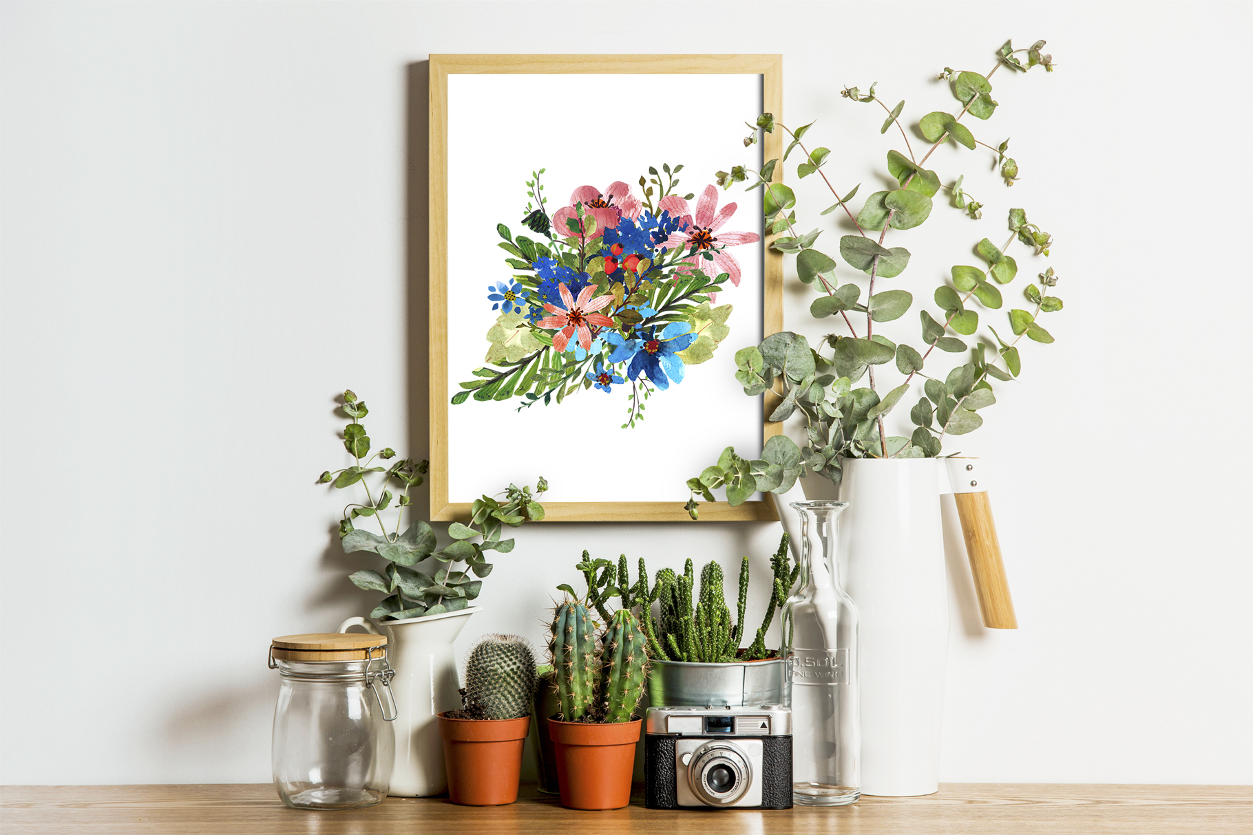 Flower Power watercolor pack set with frames wreath patterns example image 10