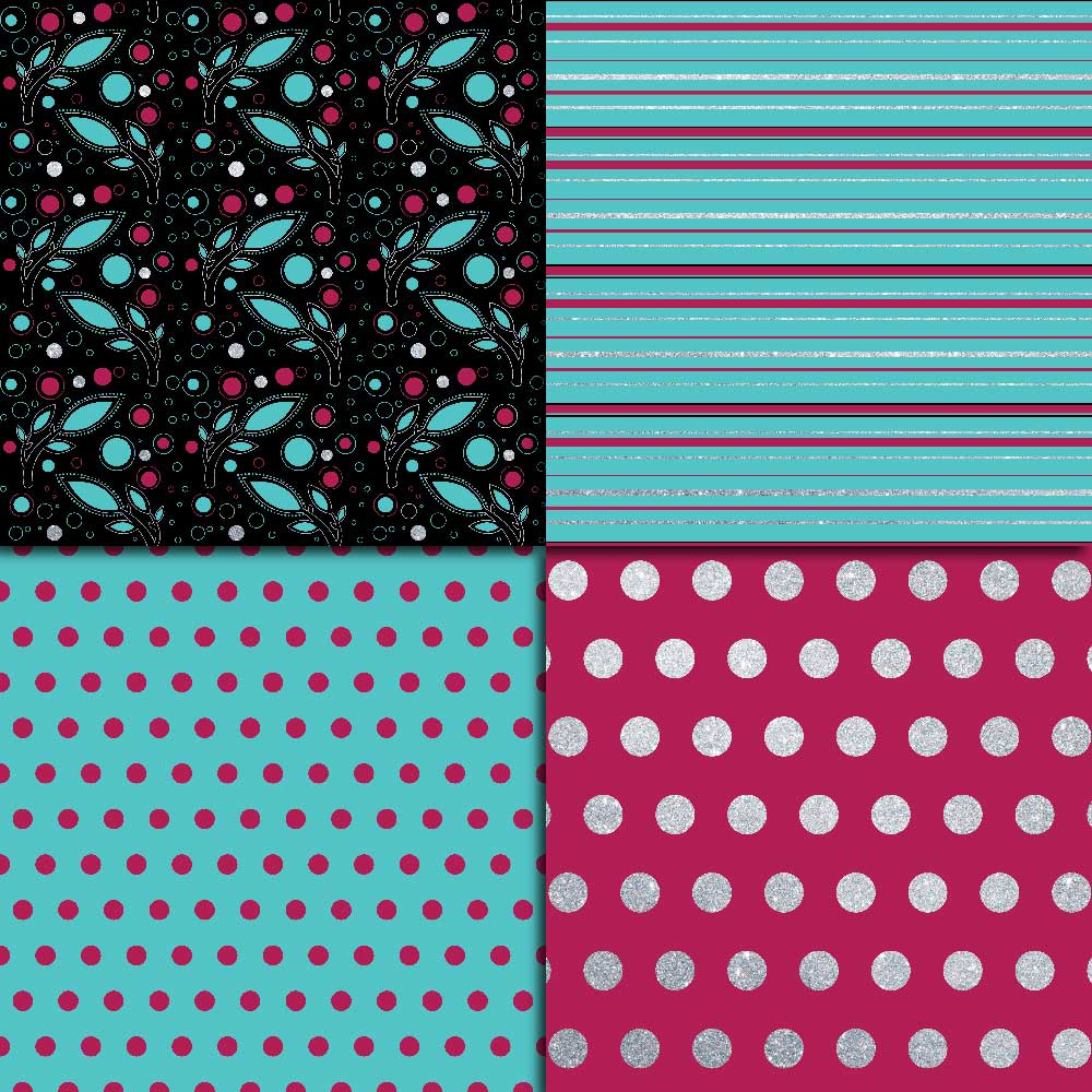 Fuchsia Teal & Silver Digital Paper example image 2