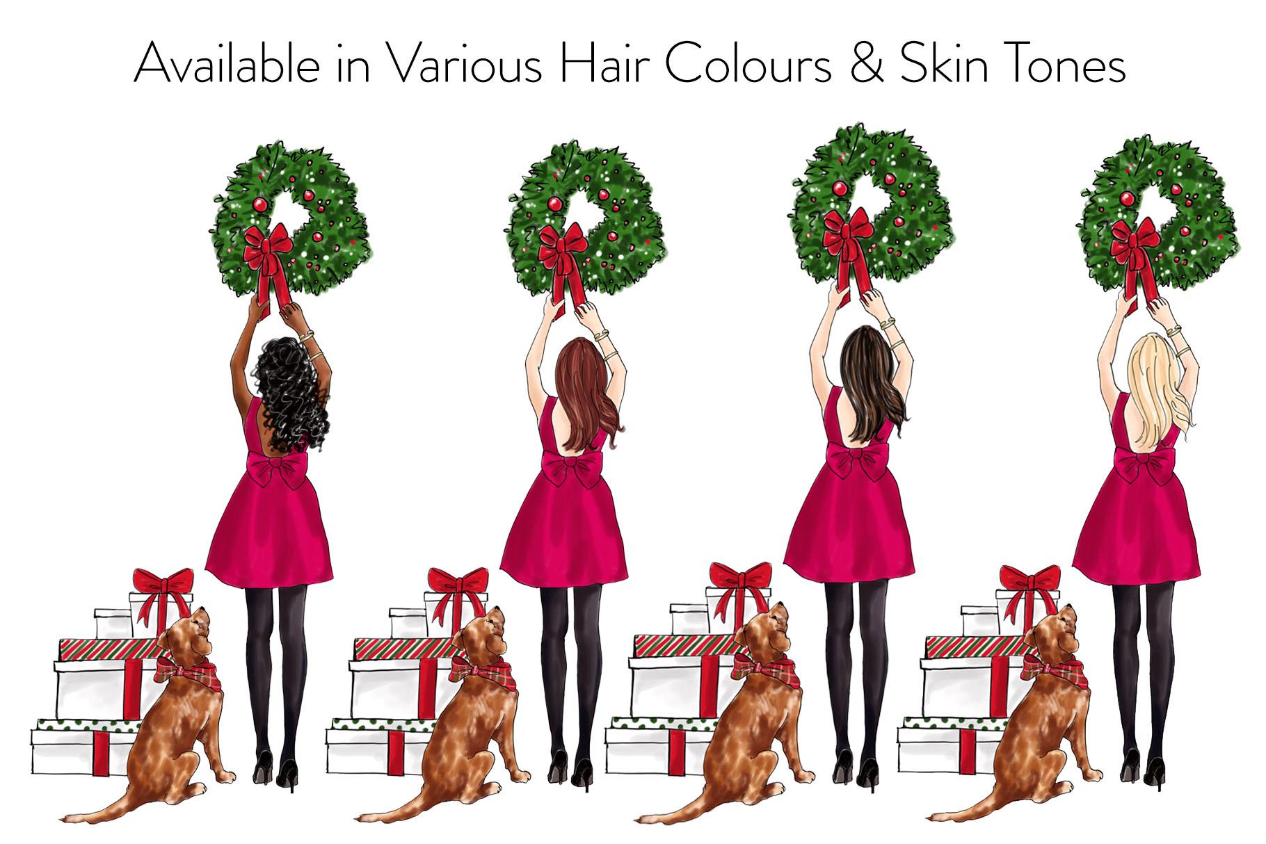 Fashion illustration - Christmas Girl 7 - Brunette example image 4