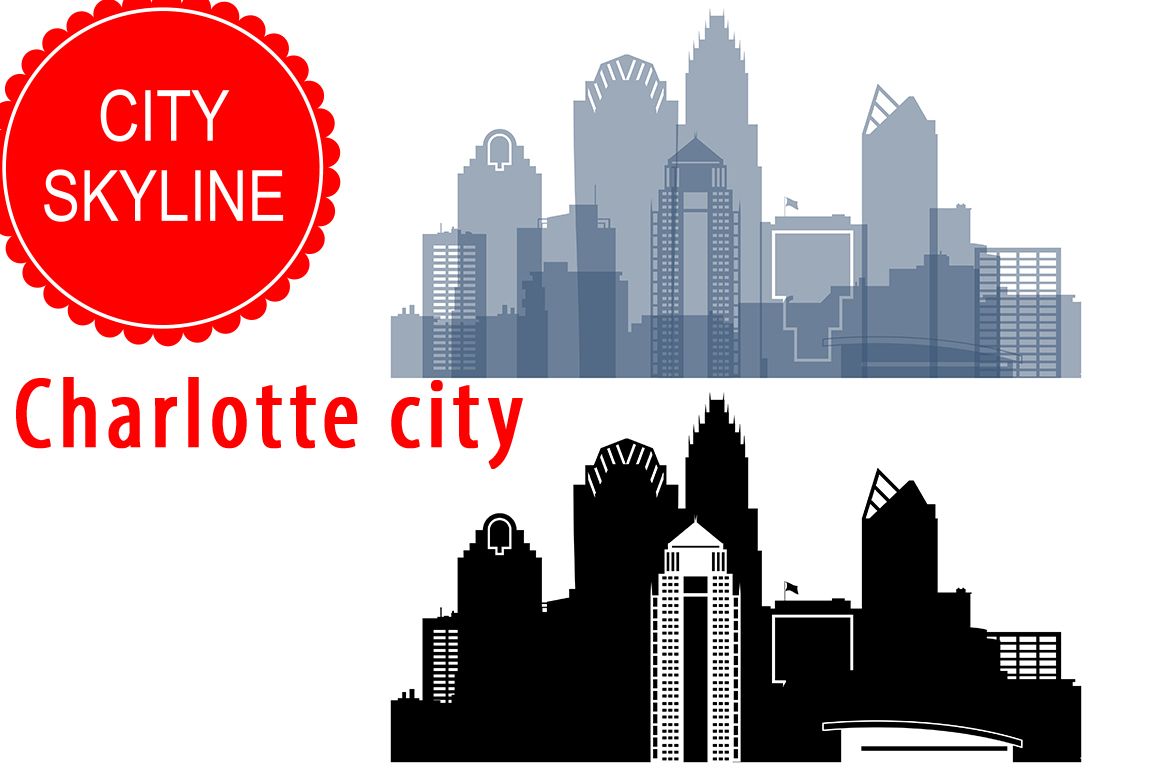 Charlotte Vector, North Carolina Skyline USA city, SVG, JPG, PNG, DWG, CDR, EPS, AI example image 1