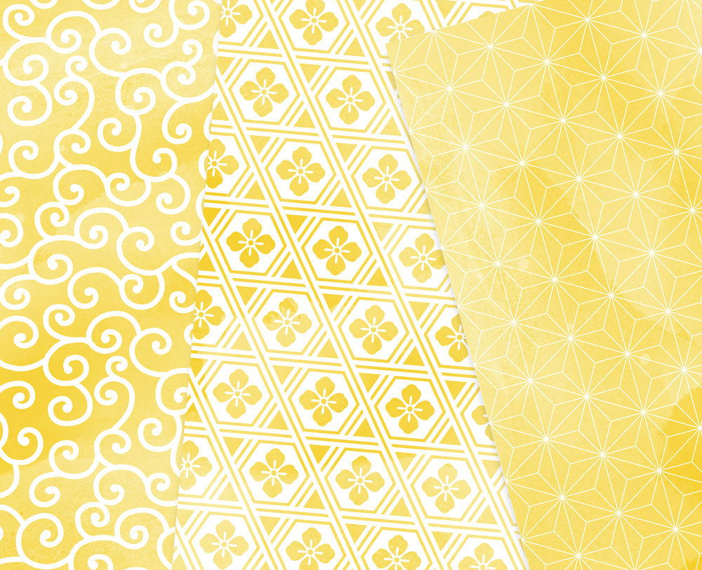 Yellow Watercolor Digital Paper Japan Background Patterns Soft Blue example image 5