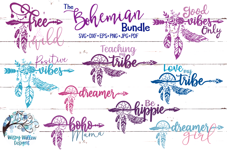 The Bohemian Bundle | Dreamcatcher Arrow Boho SVG Cut Files example image 1