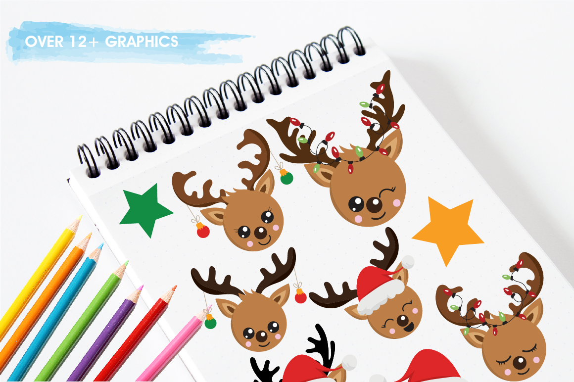 Reindeer faces graphics and illustrations example image 3