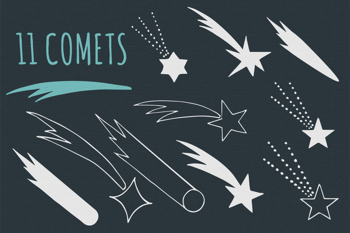 Stars, Moons, Comets - Eps&Png example image 4