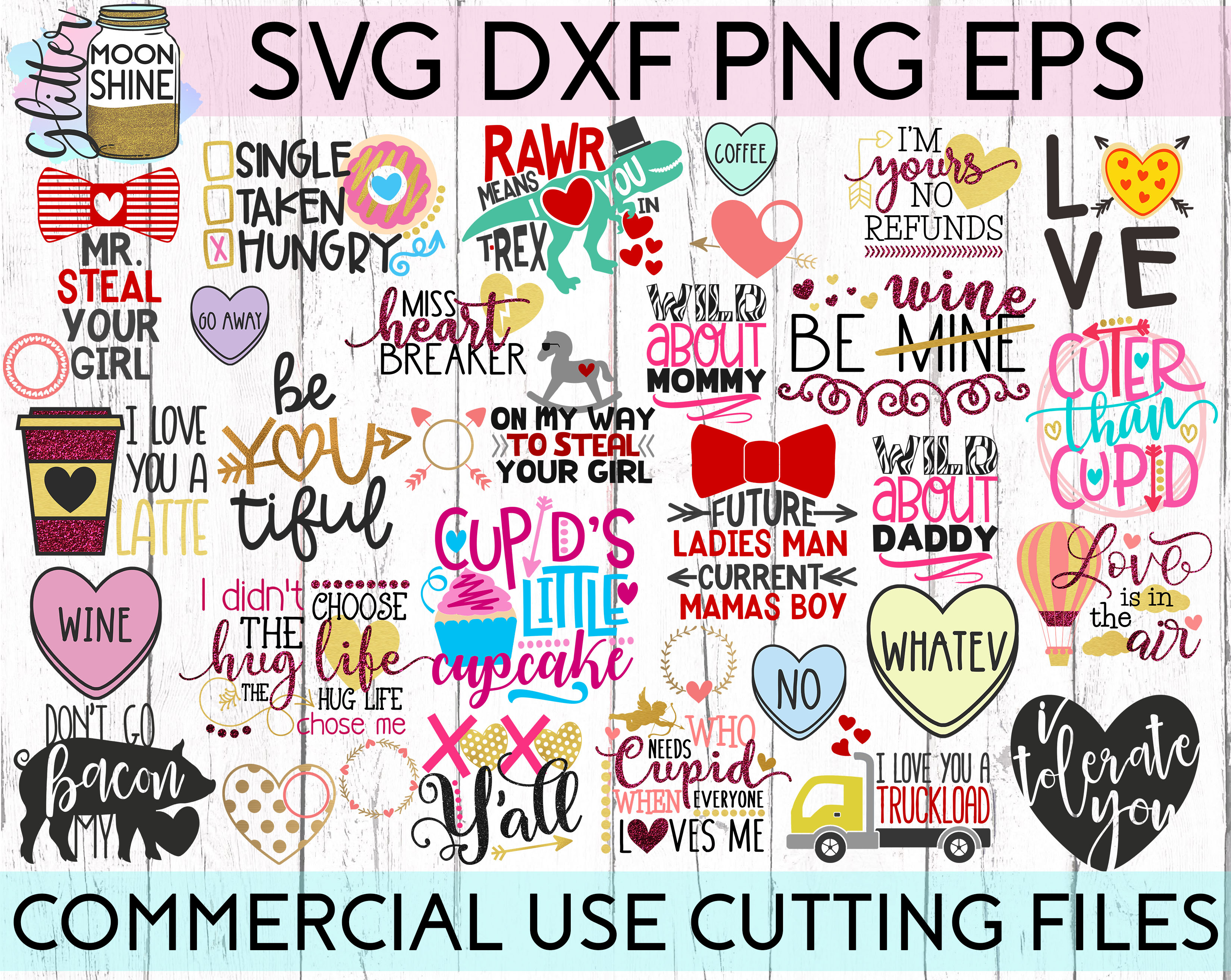 HUGE Valentine's Day Bundle SVG DXF PNG EPS Cutting Files example image 1