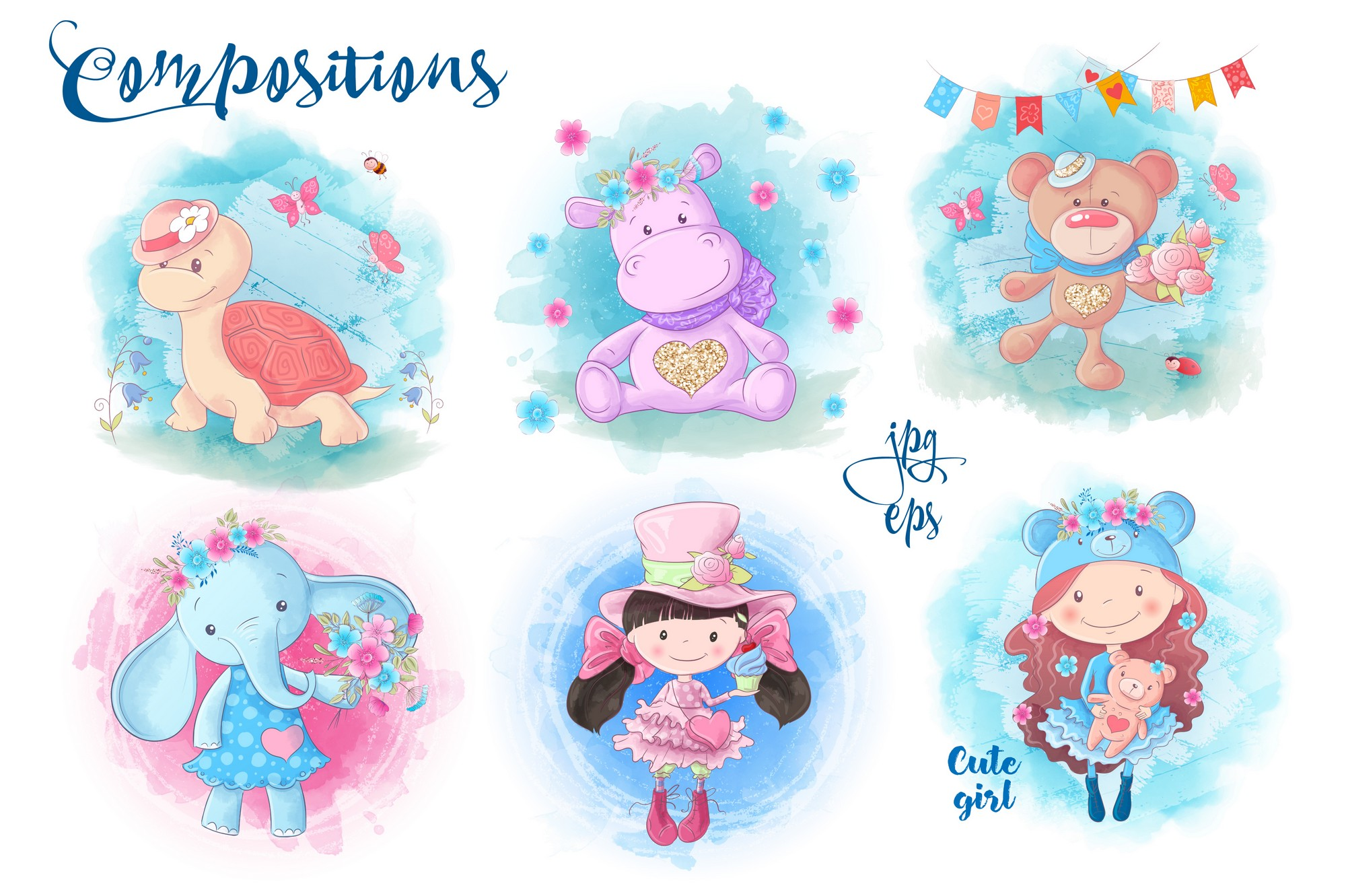 Cute Characters vector clip art example image 4
