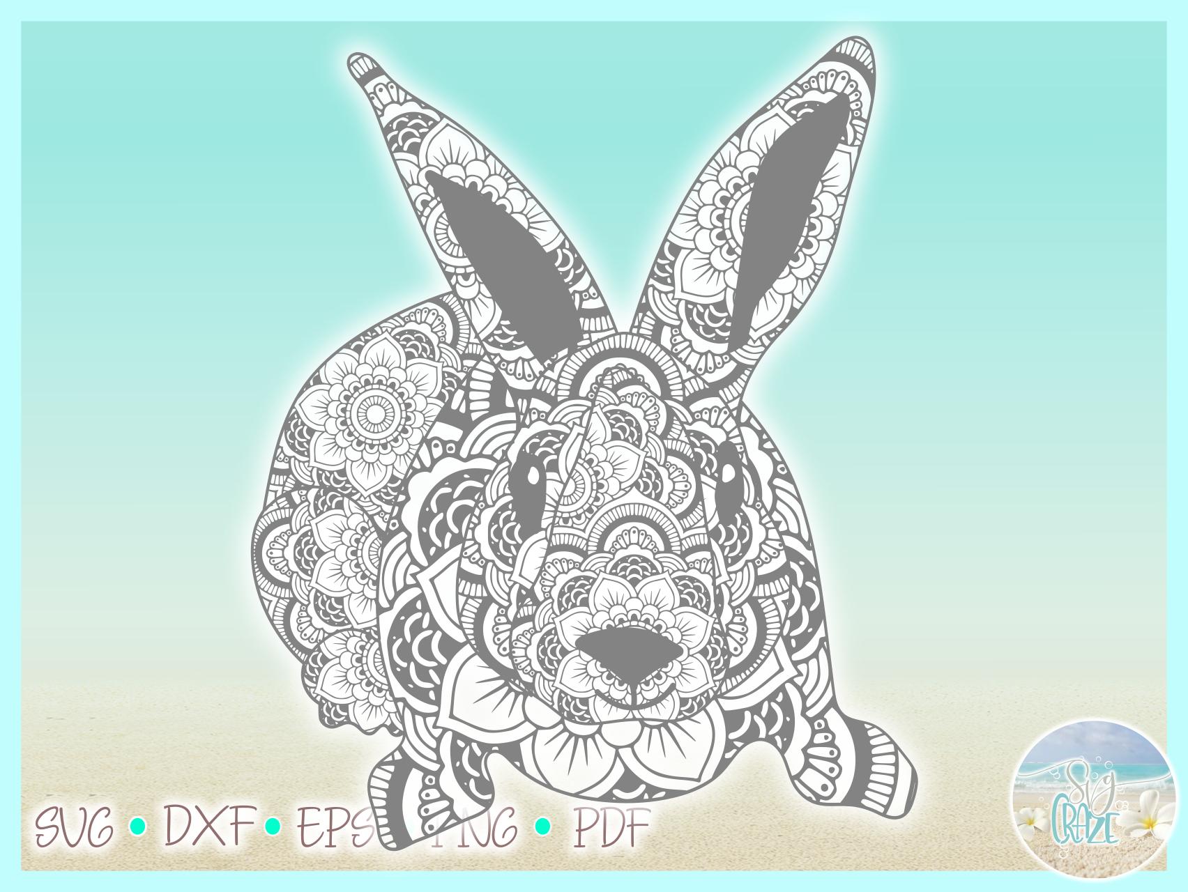 Easter Bunny Mandala Zentangle Svg Dxf Eps Png Pdf Files