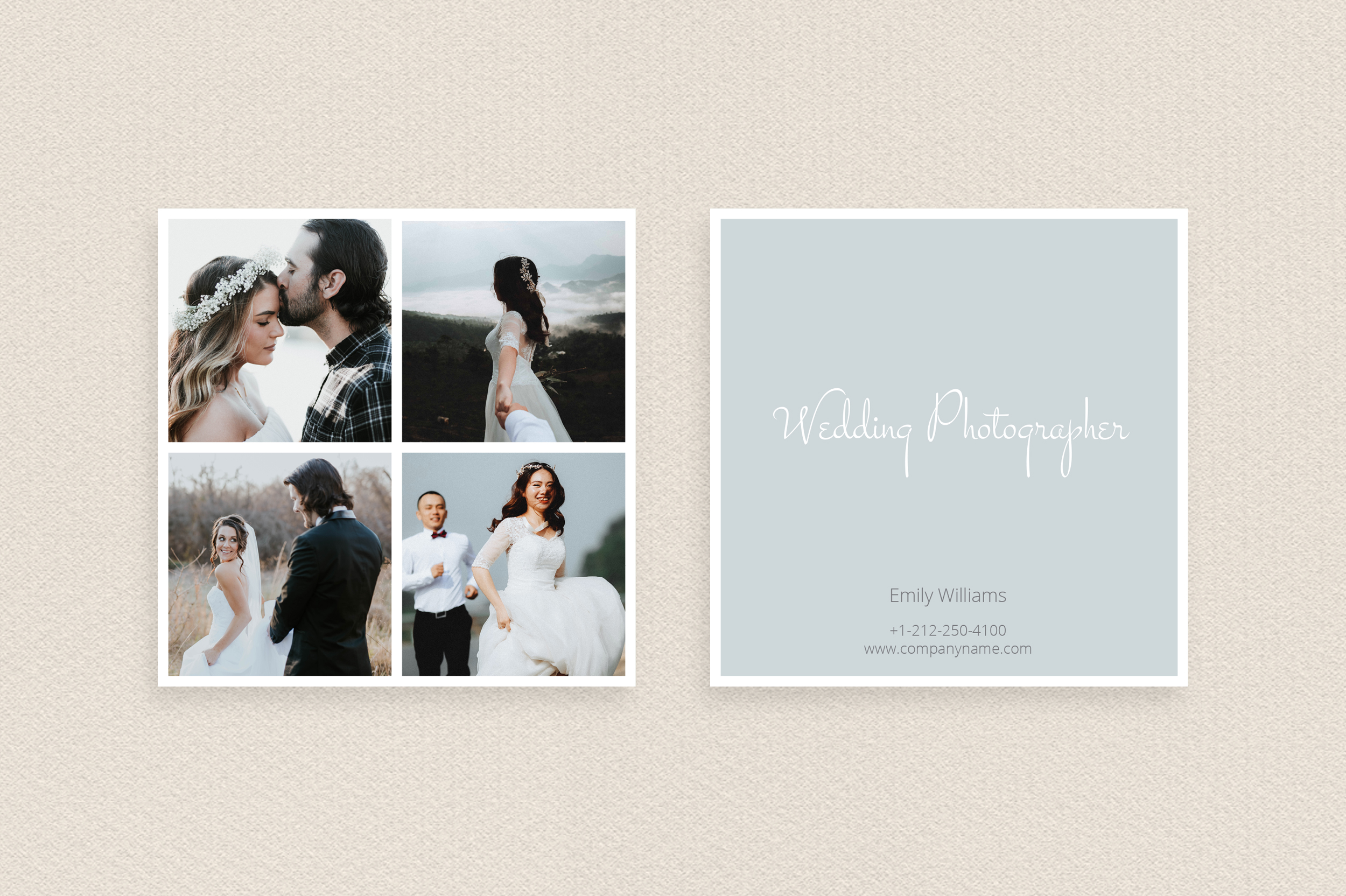 Square Polaroid Wedding Photographer Business Card example image 2