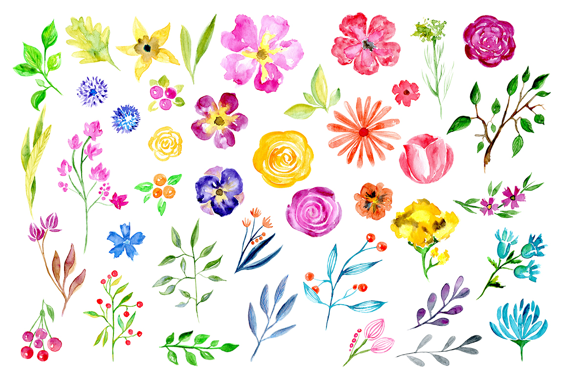 Watercolor flowers leaves floral elements example image 2