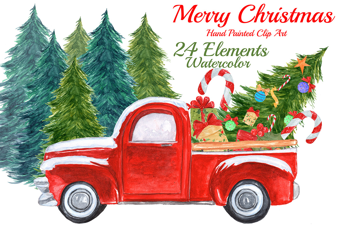 Watercolor Christmas truck clipart example image 1