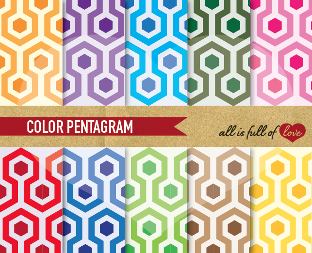 Hexagon Digital Paper 50's Background Patterns example image 1