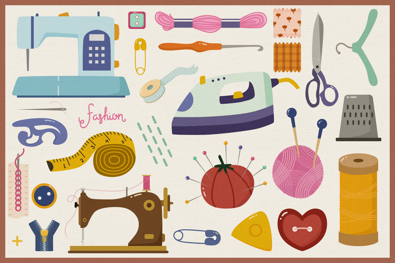 Sewing Starter Kit Vector Clipart and Seamless Pattern example image 2
