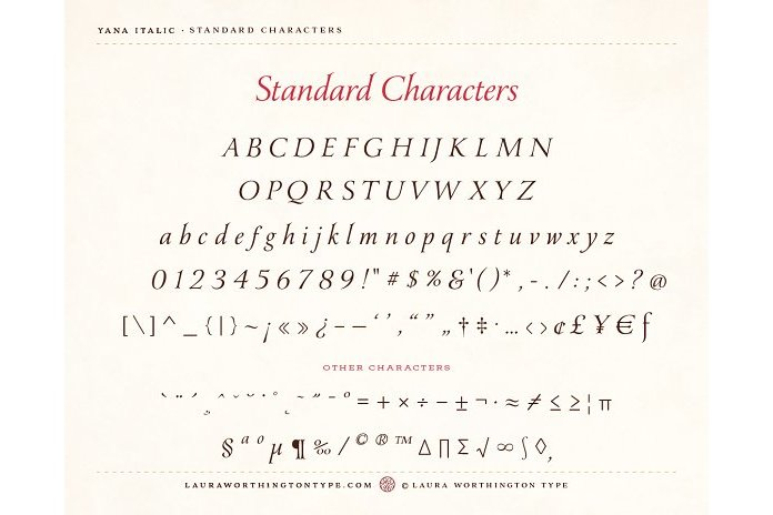Yana Italic example image 2