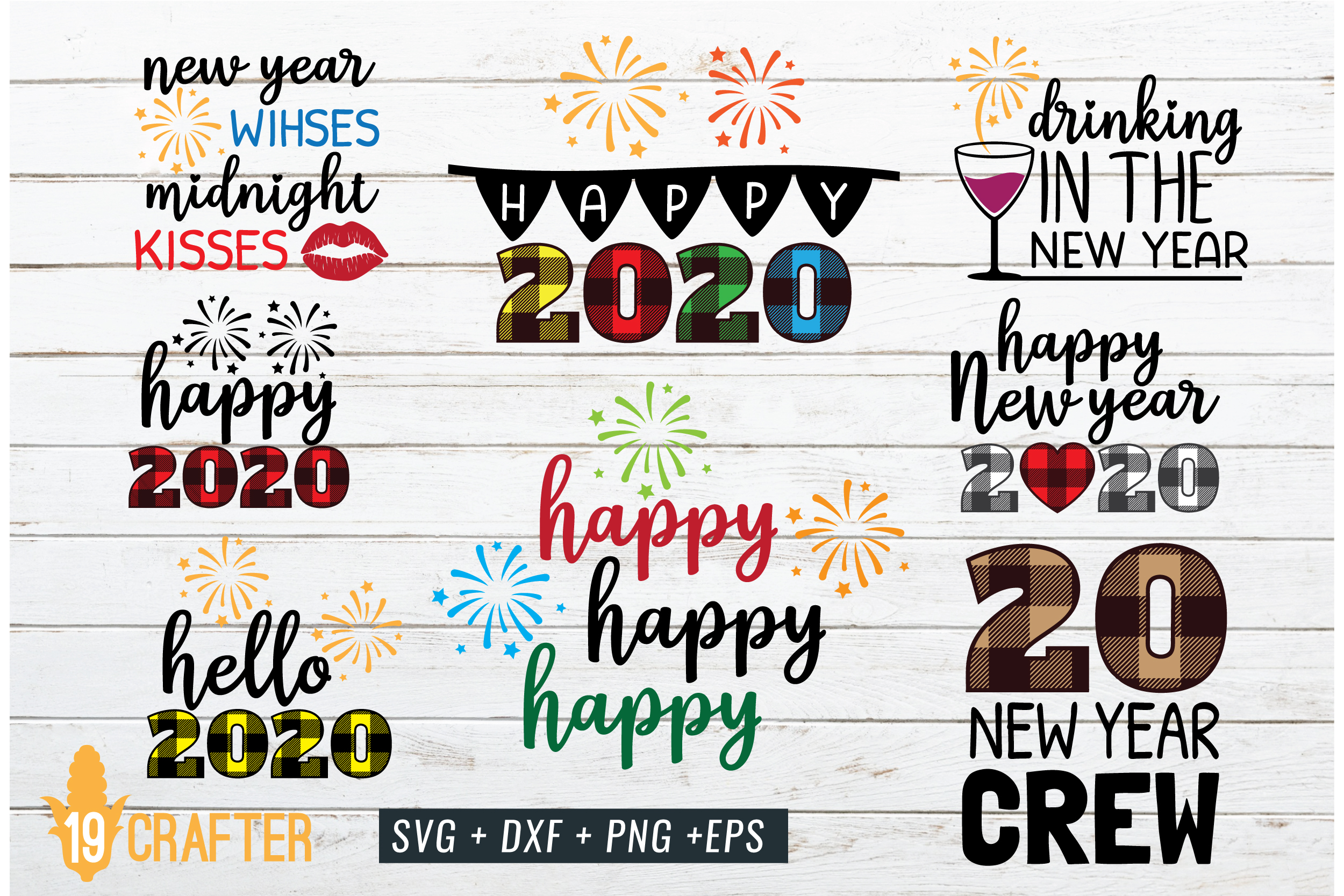 happy new year 2020 SVG cut file craft bundle example image 1