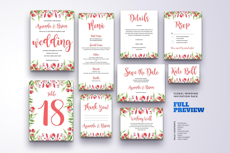 Floral Wedding Invitation Bundle example image 15