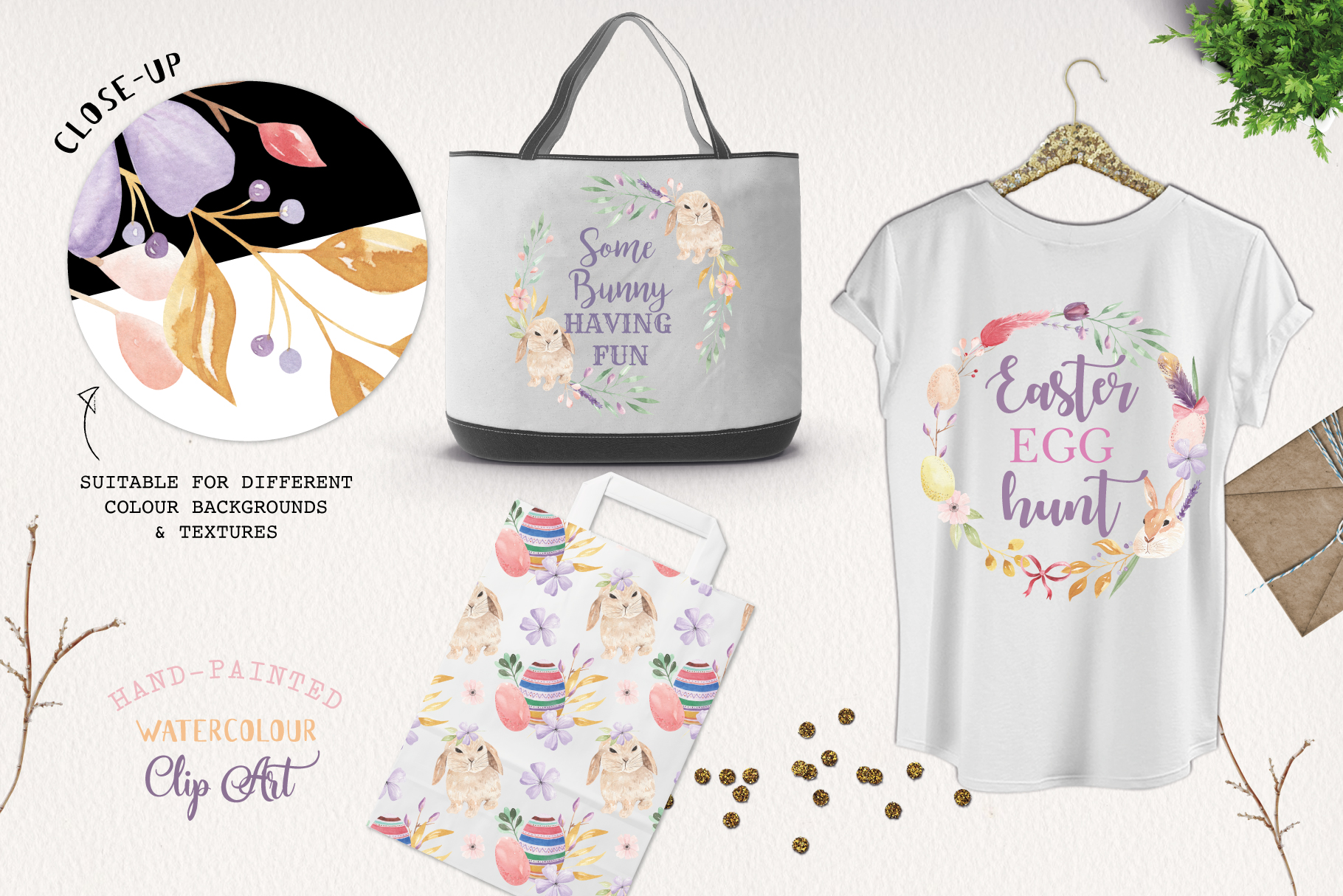 Easter Egg HUGE Bunny Watercolor Floral Spring Clipart Kit example image 7