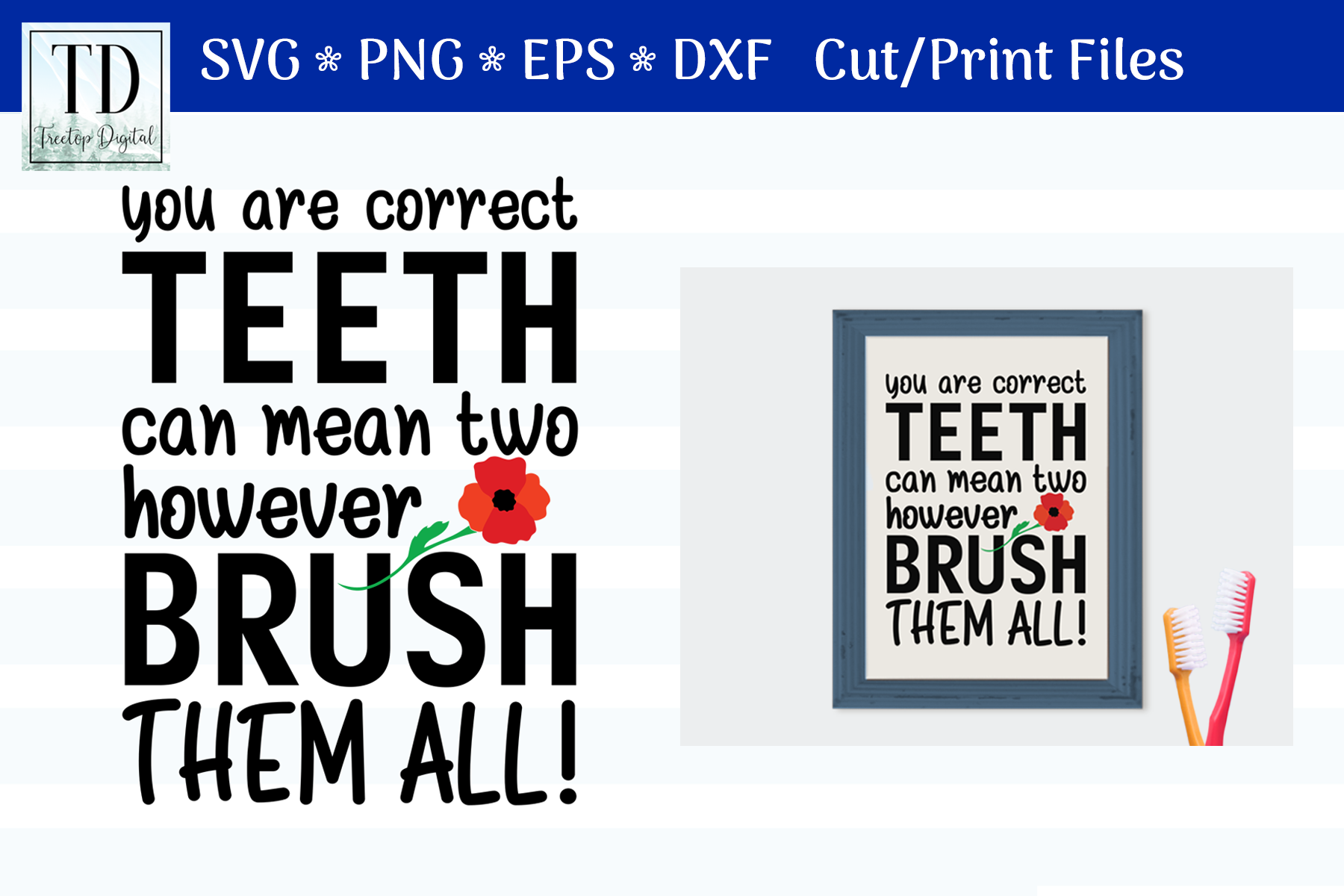 Brush Your Teeth, A Bathroom Sign, SVG or Sublimation example image 1