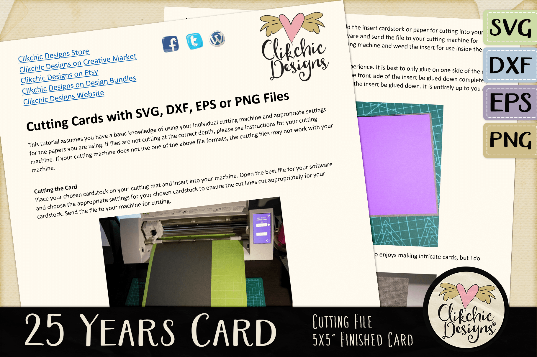 25 Years Anniversary / Birthday Card SVG - Card Cutting File example image 3