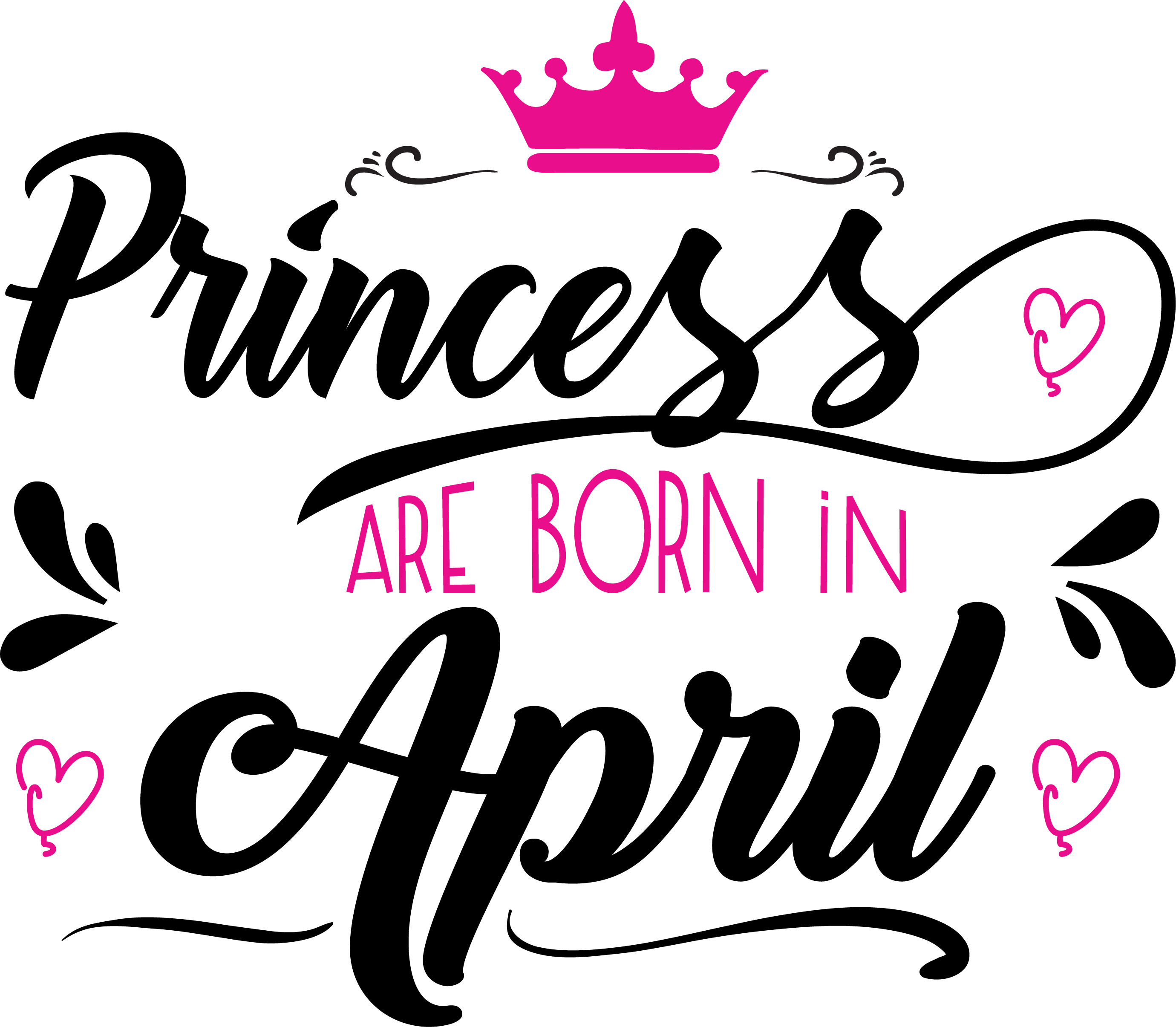 Princess are born in April Svg,Dxf,Png,Jpg,Eps vector file example image 2
