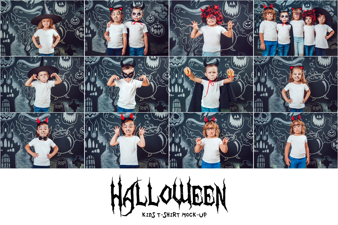 Halloween Kids T-Shirt Mock-Up example image 14