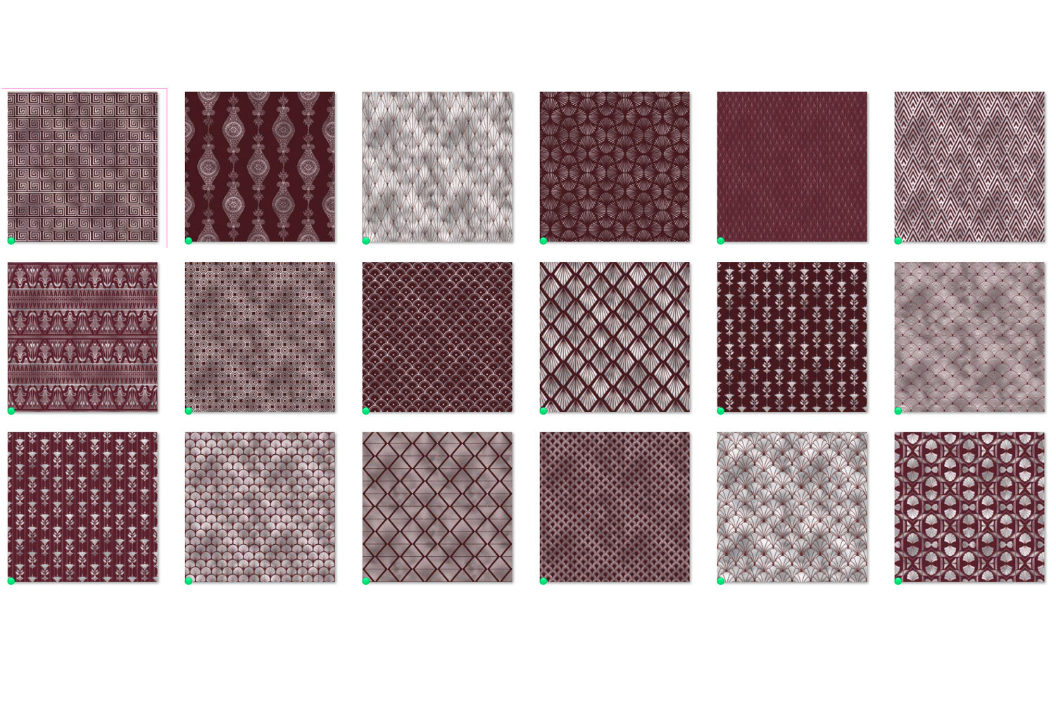 Maroon and Silver Art Deco Digital Paper example image 4