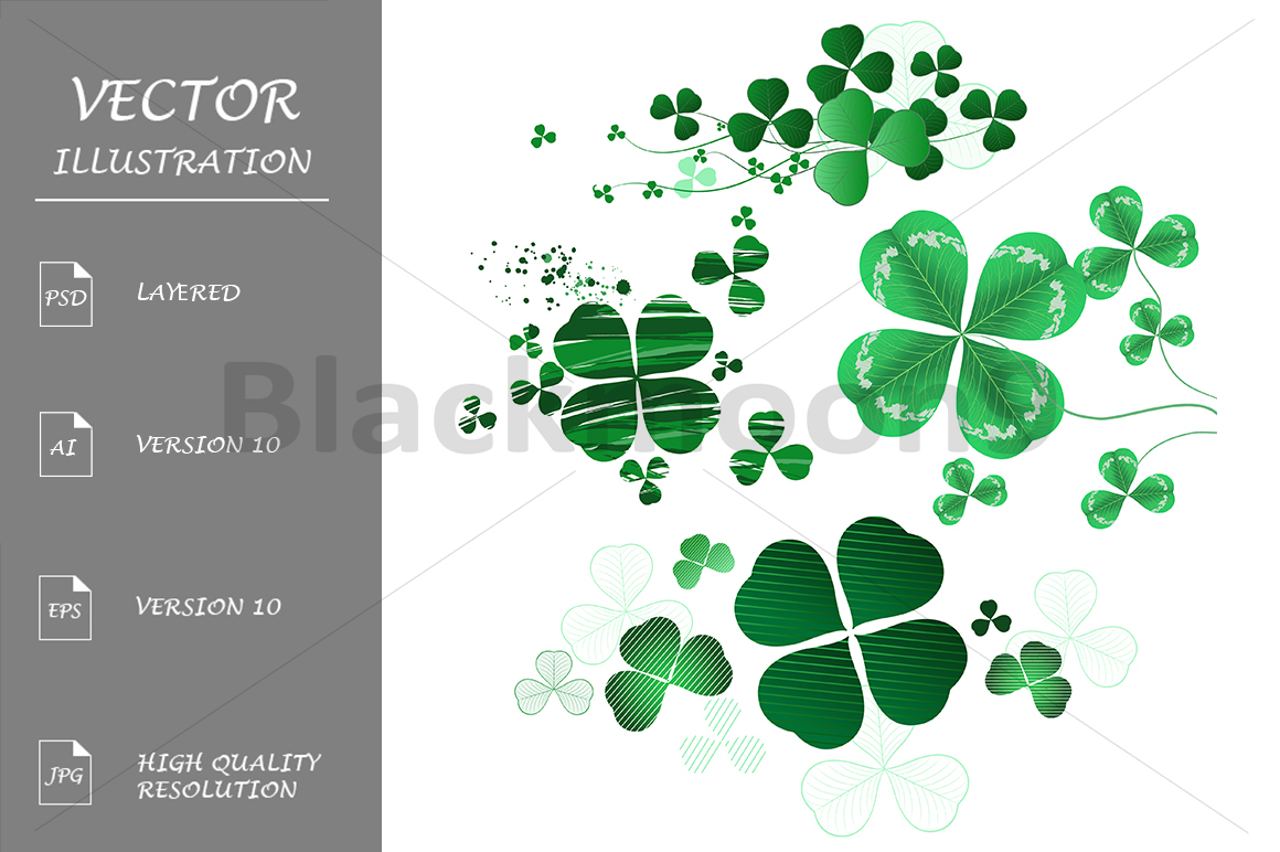 Four-leaf Clover on a White Background example image 1