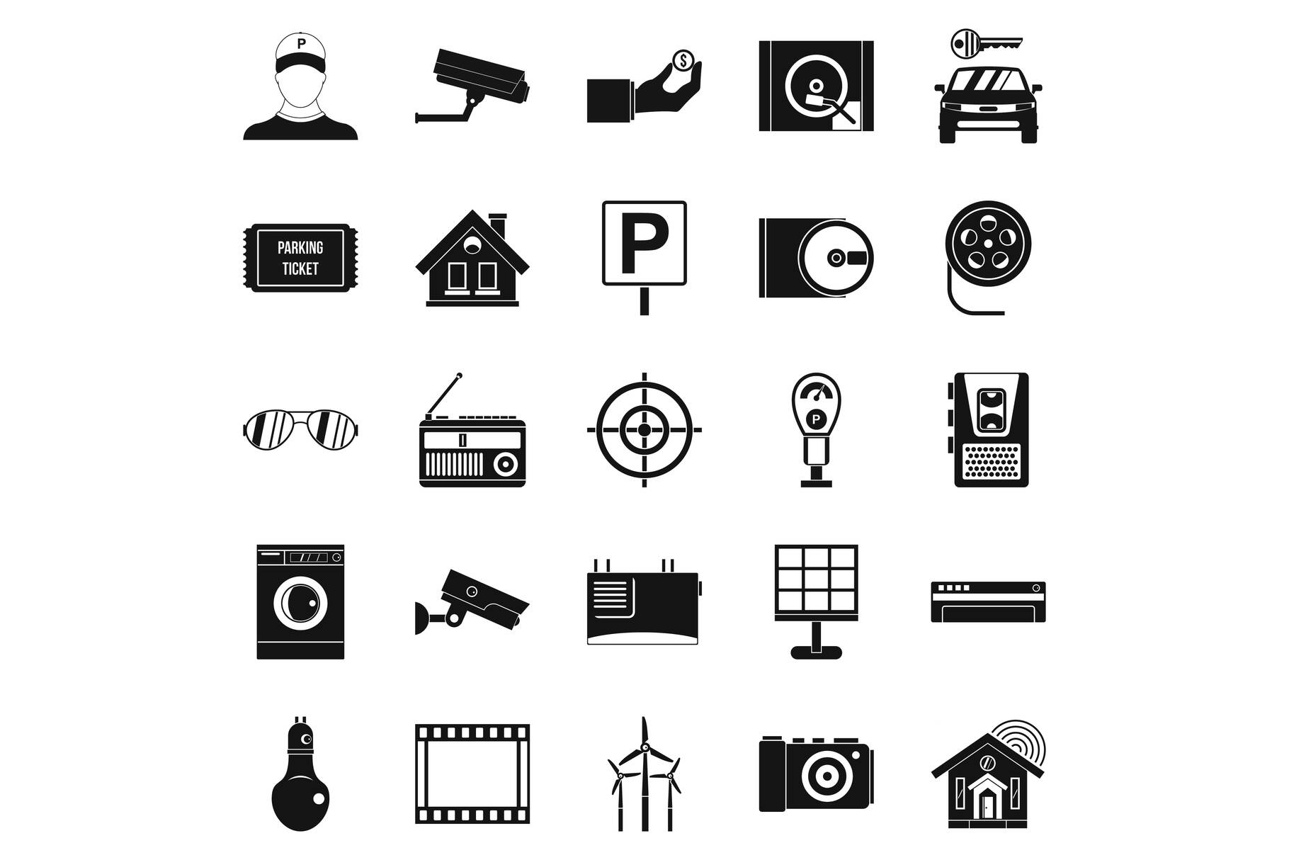 Surveillance cameras icons set, simple style example image 1