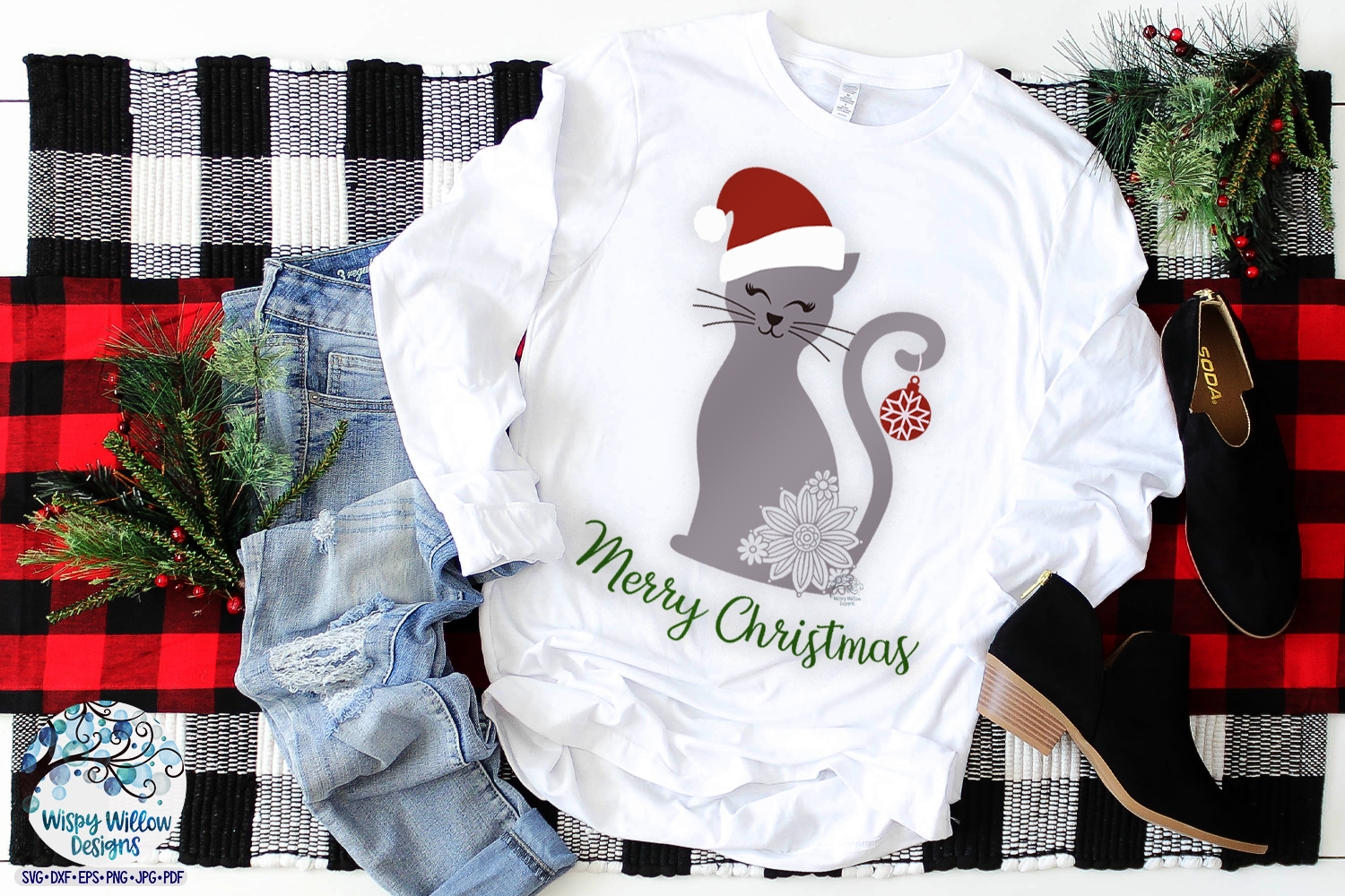Merry Christmas Cat SVG | Christmas SVG Cut File example image 2