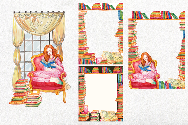 Books clipart, Watercolor girl.Watercolor illustration example image 3