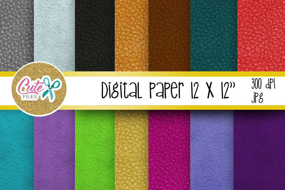 Leather Digital Paper, colorful digital paper example image 1