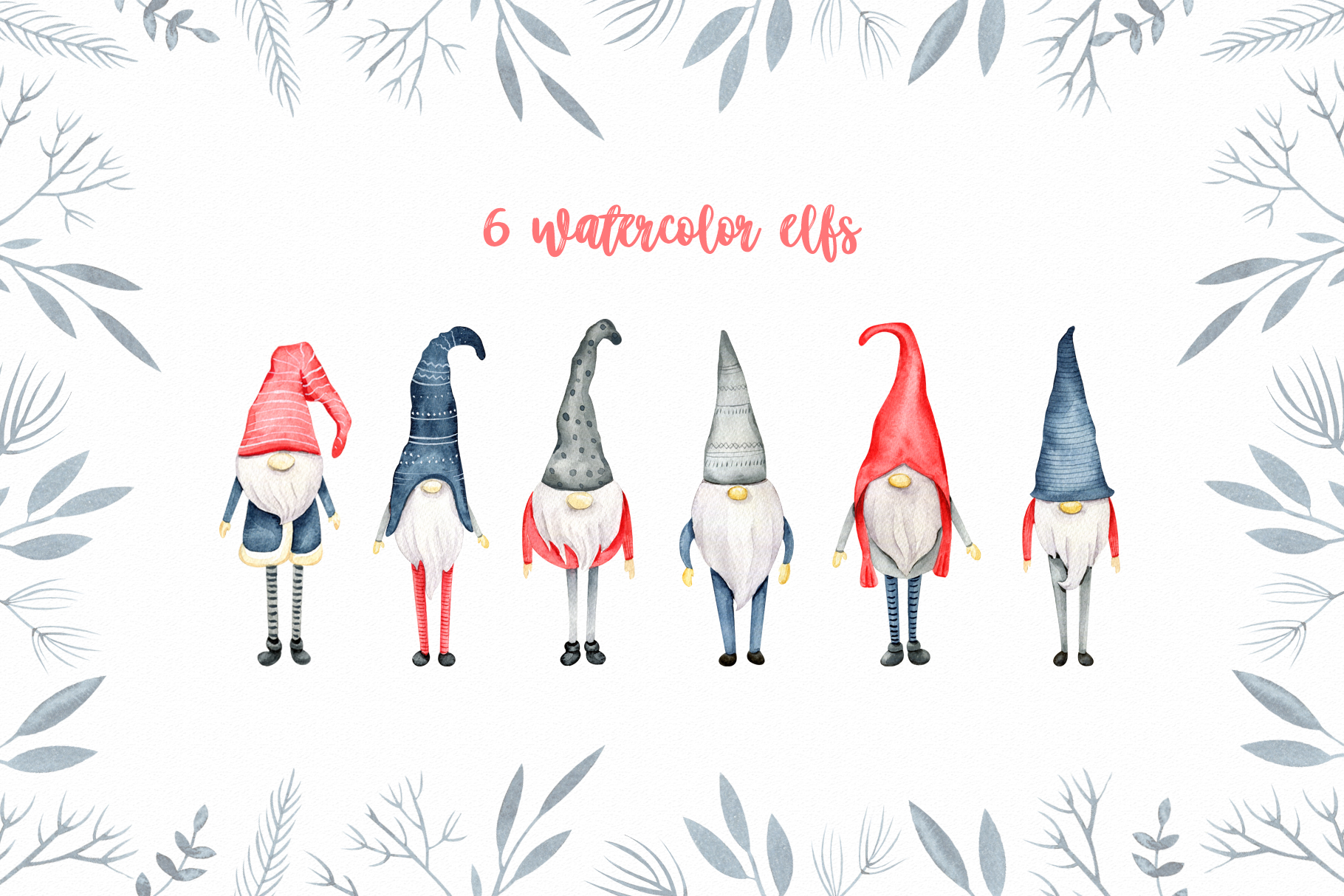 Winter Scandinavian Elfs, Nordic decor clipart watercolor example image 4