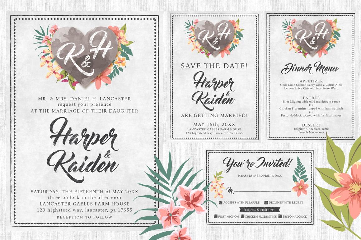 Massive Wedding Invite Bundle Flyer Save Date Bridal Shower  example image 11