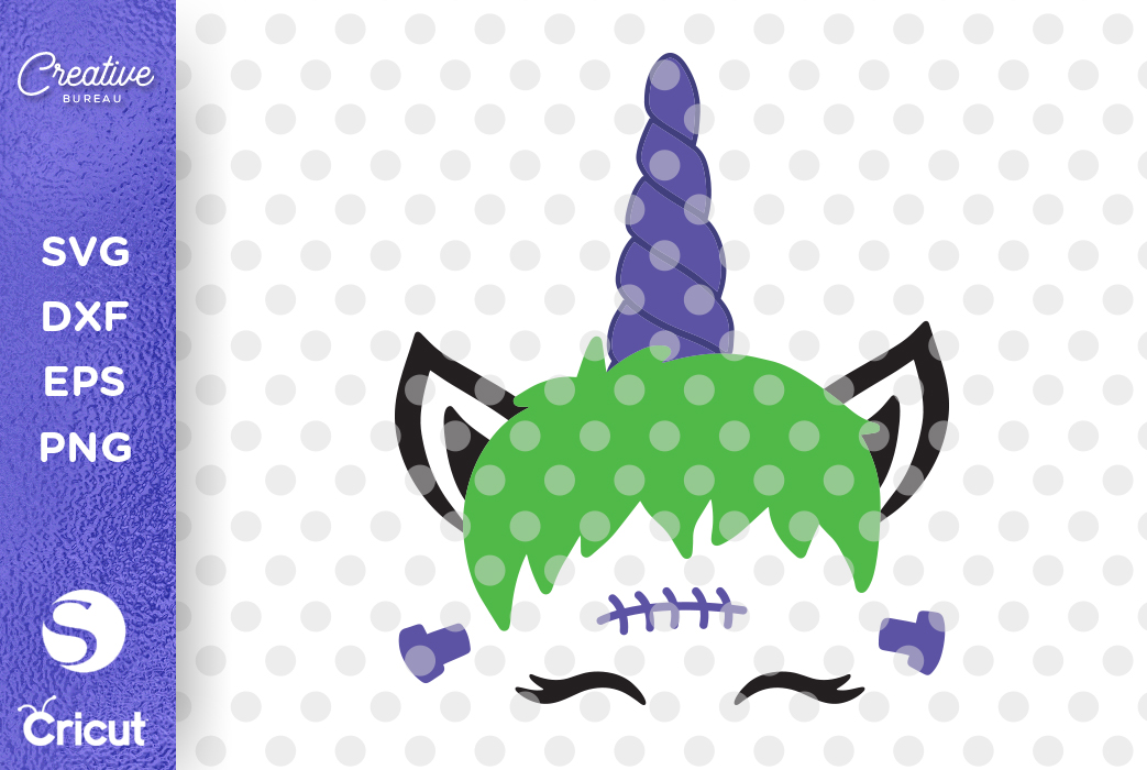 Halloween Unicorn Face SVG DXF Cut File, Unicorn Face SVG example image 2