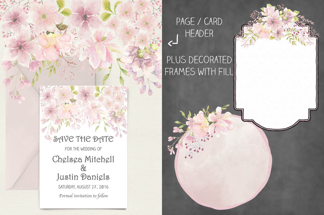 Wedding clip art bundle in blush Magnolias II example image 6