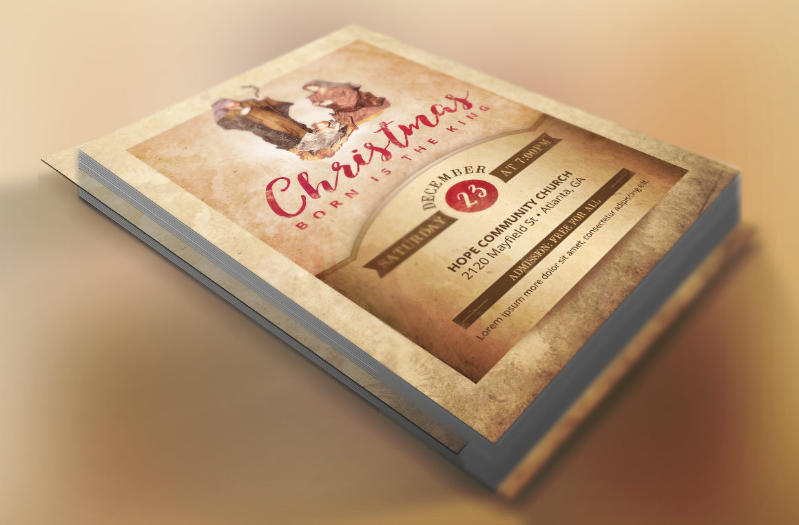 Vintage Christmas Cantata Flyer Template example image 2