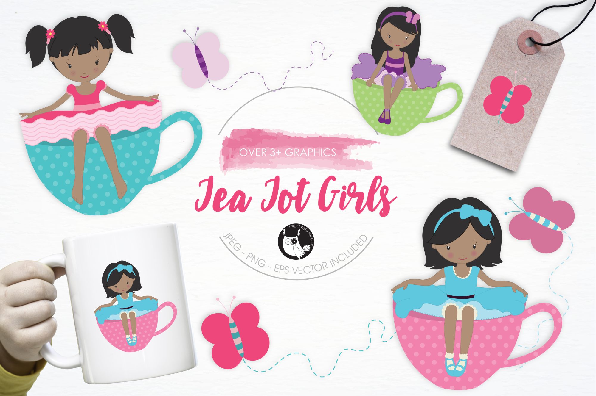 Tea Tot Girls graphics and illustrations example image 1