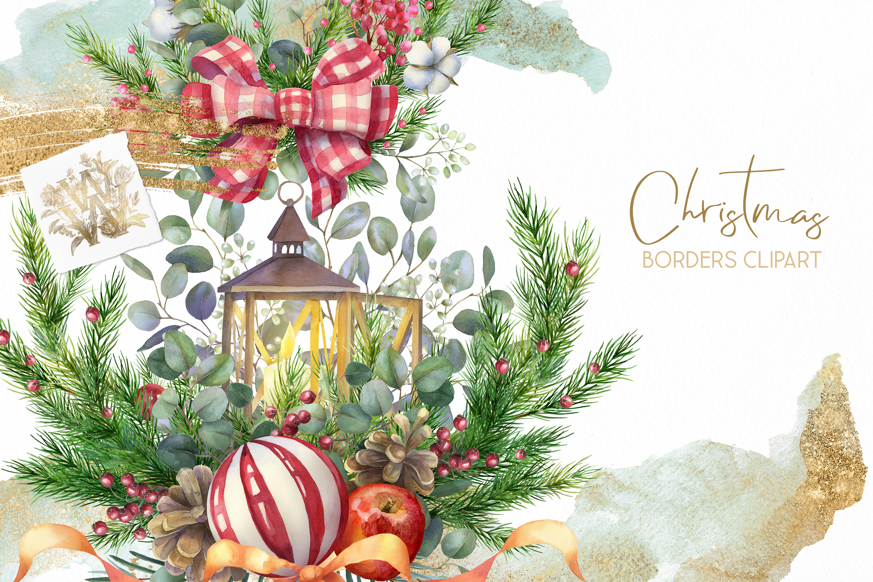 Christmas Watercolor Floral bouquets clipart, Winter wedding example image 9