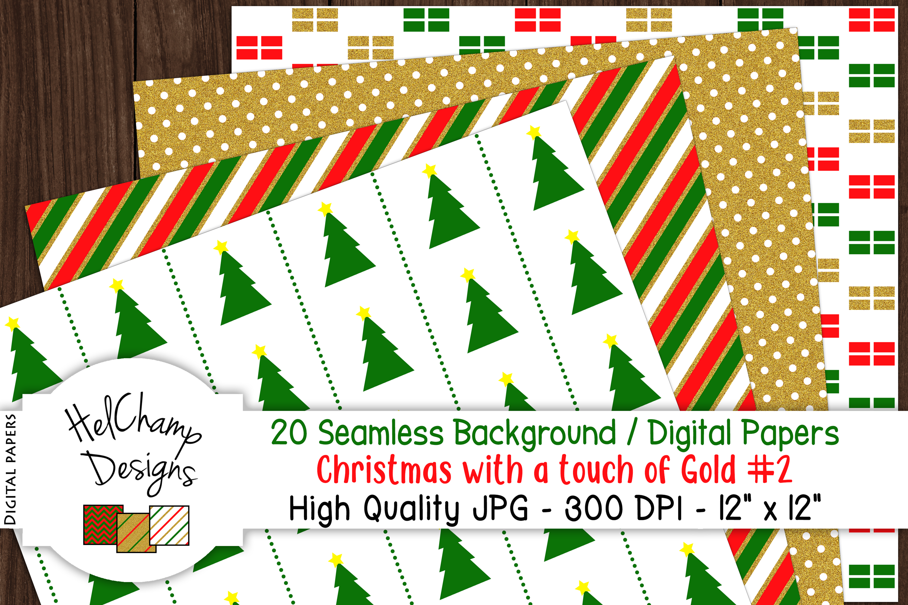 20 seamless Digital Papers - Christmas with Gold - HC007 example image 2