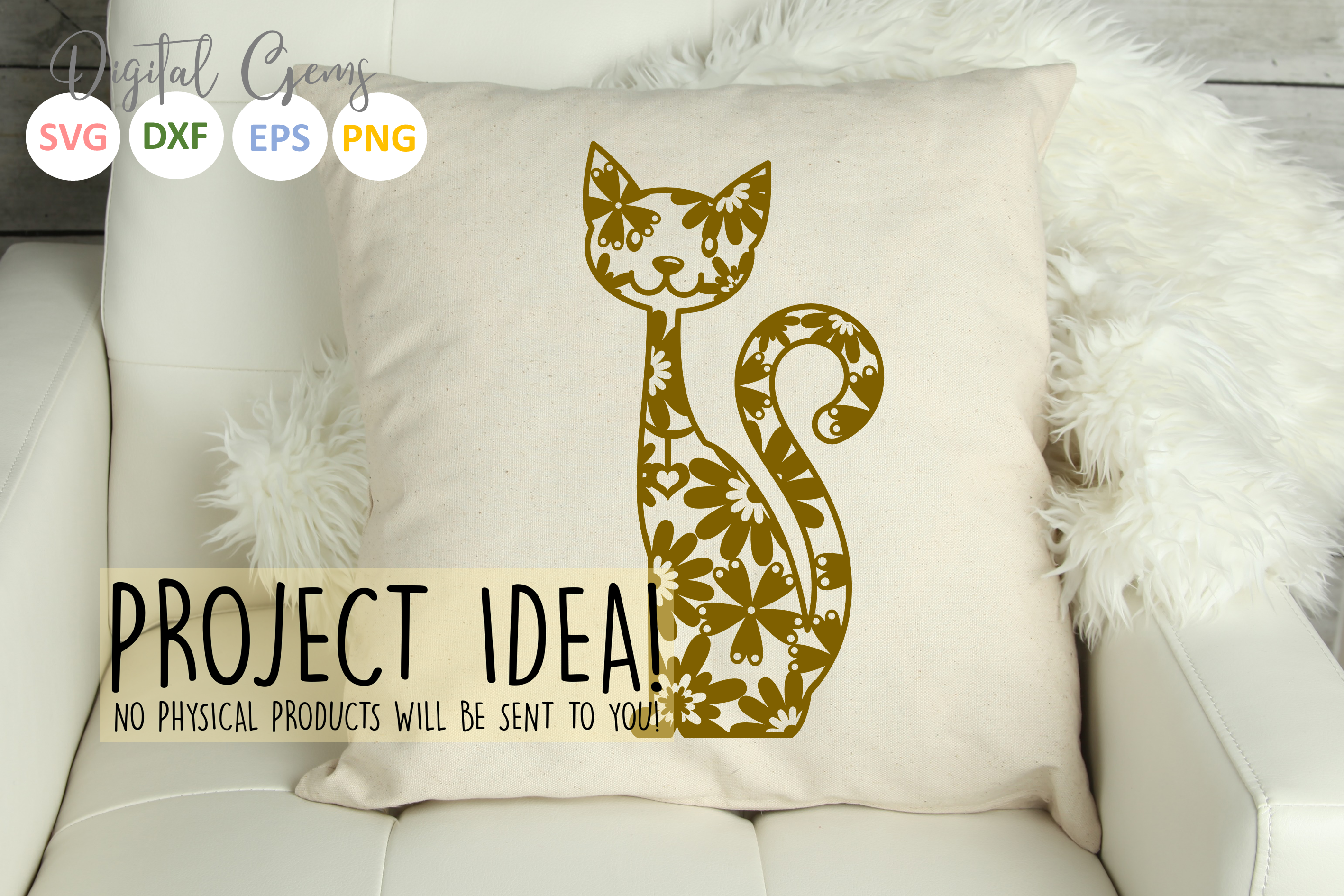 Cat paper cut SVG / DXF / EPS files example image 7