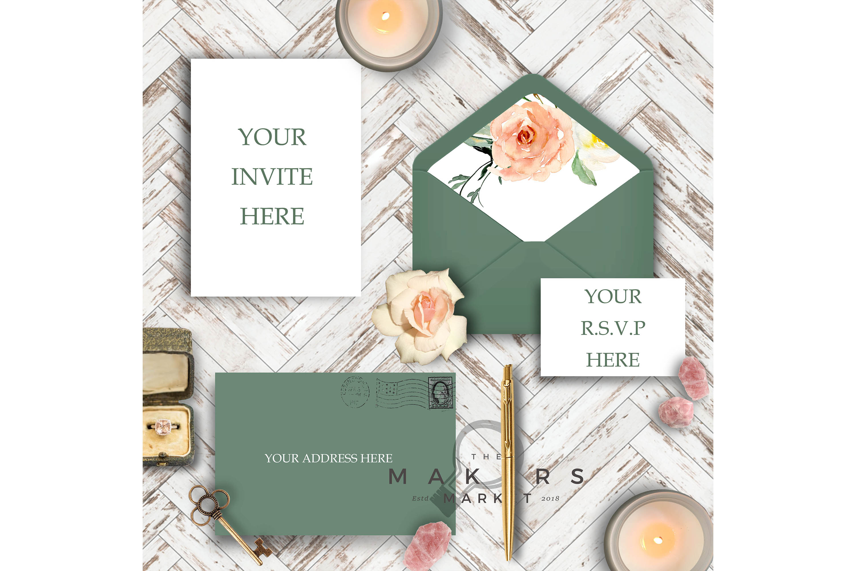 PSD Wedding Mockup/ Invitation Suite Mockup/ example image 3