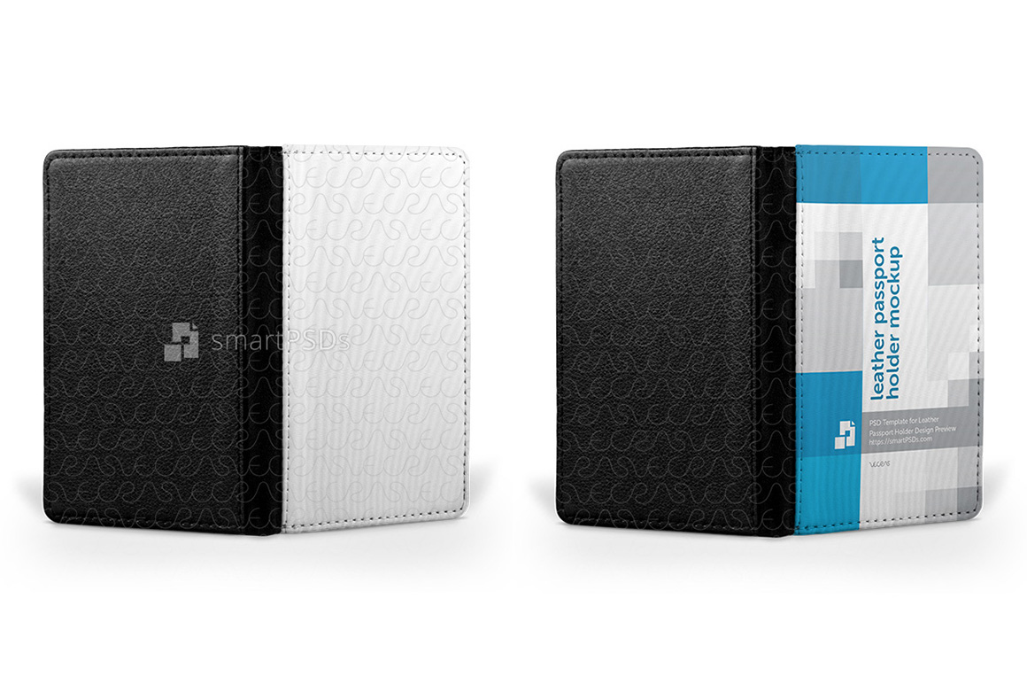 Leather Passport Holder Design Mockup - 4 Views example image 3