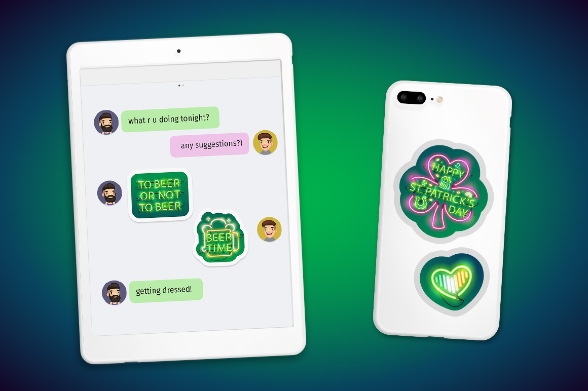 Neon St Patricks Day Sticker Pack example image 4