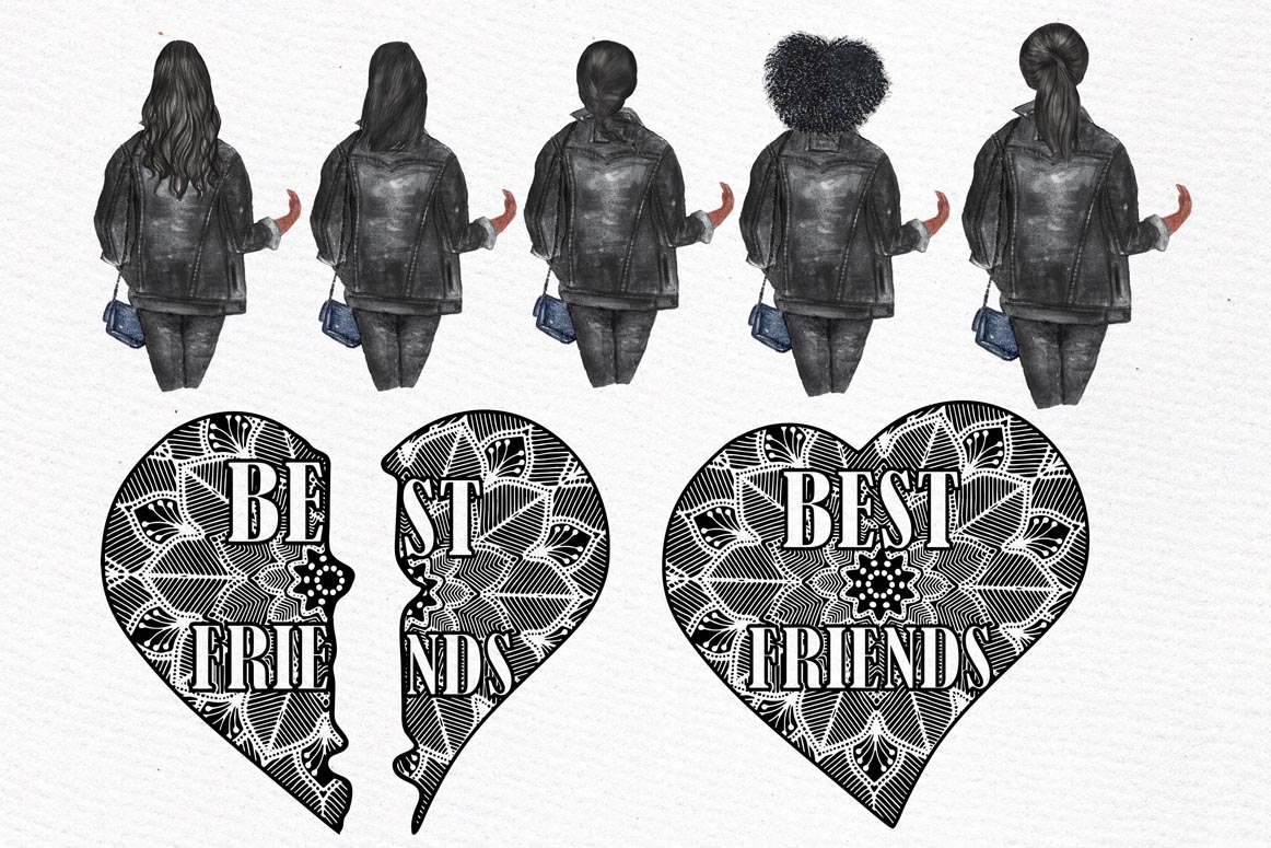Best Friends Clipart,SOUL SISTERS CLIPART, Bff clipart, example image 5