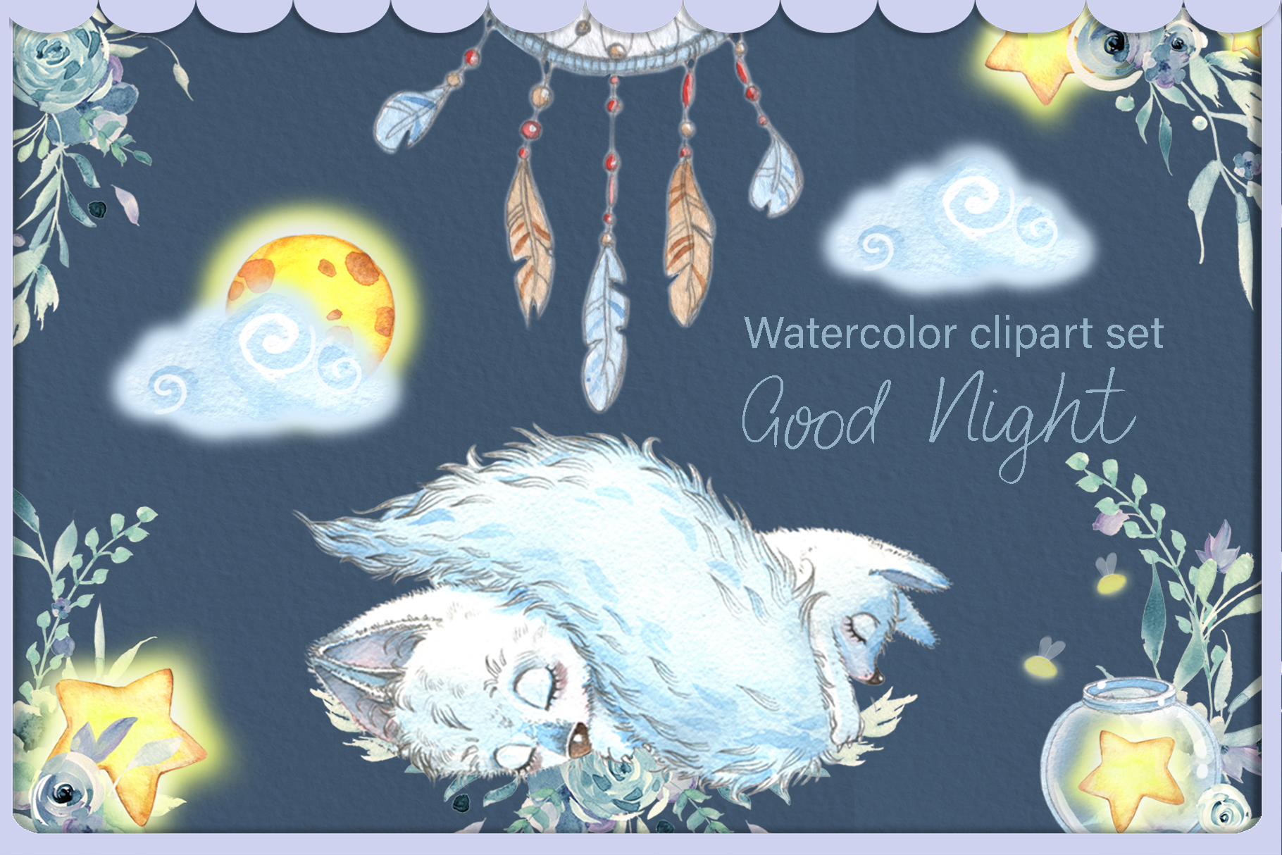 Arctic fox and glowwarm night watercolor clipart kit for bab example image 3