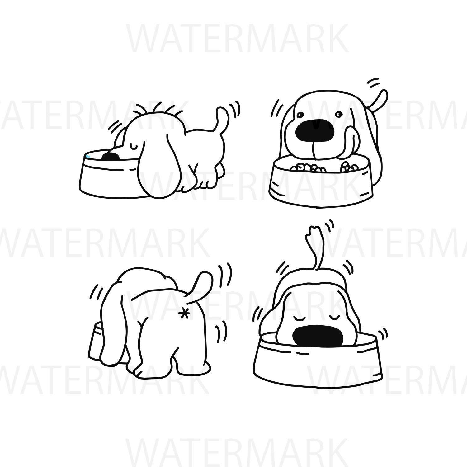 Four Dogs Eating food - SVG/JPG/PNG - Hand Drawing example image 1